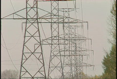 Row of power pylons Stock Footage
