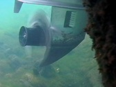 Stock Video Footage of Boat Prop Propeller Underwater Spinning Clear Water Motor Blade  Engine