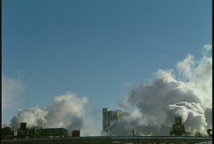 Industrial plant, exhaust stacks in winter, #9 Stock Footage