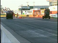 motorsports, Drag racing! wheelstander race sparks - stock footage