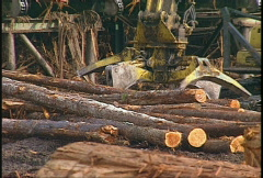 Stock Video Footage of lumber mill log tractor and picker