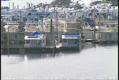 Houseboats moored in winter  Stock Footage