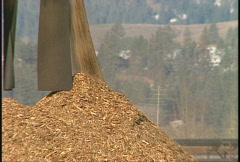 Industry, Log mill raw pulp conveyor long lens Stock Footage