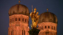 Germany Munich Frauenkirche Church of our Lady at dusk Stock Footage