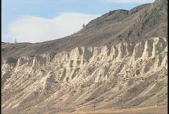 Eroded hoodoo wall valley desert  Stock Footage
