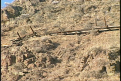 Ancient wooden aqueduct in the desert, #1 Stock Footage