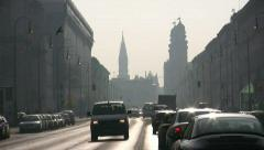 Germany Munich Traffic in Leopoldstrasse Stock Footage