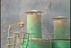 Pulp mill exhaust stack Stock Footage