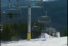 Skihill, under 6-person chairlift Stock Footage