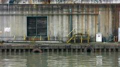 Forklift. Industrial dock. - stock footage