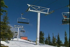 Skihill, chairlift uphill Stock Footage