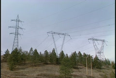 Cross country power lines  Stock Footage