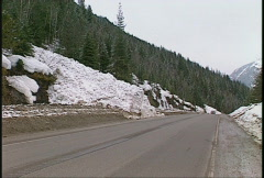 Natural disaster, avalanche path on highway zoom in Stock Footage