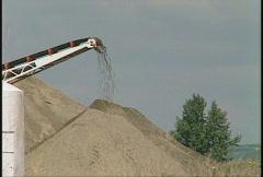 Gravel and conveyor belt Stock Footage