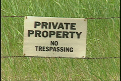 Private property sign no trespassing Stock Footage