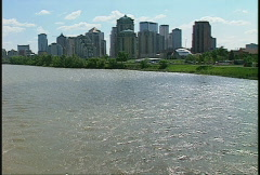 Bow River and downtown Calgary, #3 Stock Footage