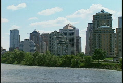 Bow River and downtown Calgary, #1 Stock Footage
