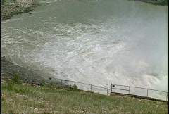 Dam Ghost, #27 spillway, pan Stock Footage