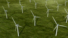 Wind turbine farm.  Top view. Loopable HD 1080 Stock Footage