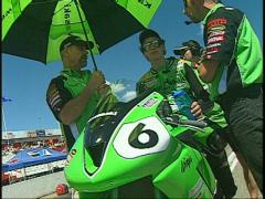 Motorsports, Brett McCormick super bike rider, celebrity Stock Footage