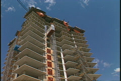 Construction elevator on exterior of building, #2 Stock Footage