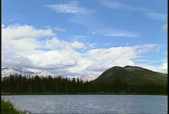 Mt Rundle iconic, Banff, pan Stock Footage