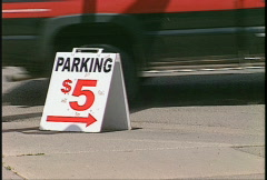 Parking sign Five bucks Stock Footage
