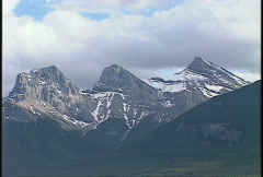 Three Sisters in  Canmore, iconic mountain scene Stock Footage