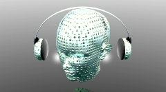 Music strange girl with headphone Stock Footage