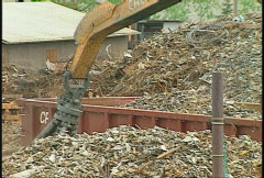 The environment, metal recycle grapple hook Stock Footage