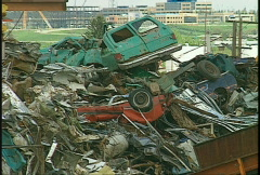 The environment, junk pile, old cars and scrap metal Stock Footage