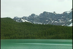 Wapta glacier Bow lake and forest Stock Footage