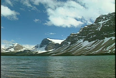 Bow lake and mountain, #11 pan Stock Footage