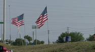 American Flags By The Road Stock Footage
