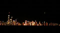 Night City Skyline Gold Coast Across Water - Kirra Beach Stock Footage