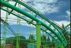 Amusement park rollercoaster green, #5 Stock Footage