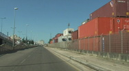 Cargo containers in the port Stock Footage
