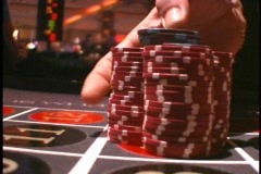 Winner Roulette Chips on a Gaming Table Wheel Las Vegas Atlantic City - stock footage