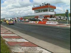 Motorsports, drag racing, Top Alcohol Funny Car launch, high speed shutter Stock Footage