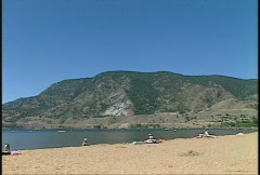 Skaha beach, Penticton BC, pan Stock Footage