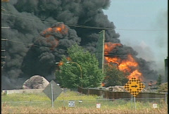 Fire, hub oil fire, huge plumes of black smoke, #6 Stock Footage