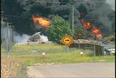 Fire, hub oil fire, huge plumes of black smoke, #7 Stock Footage