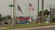 Store Front American Flags Stock Footage