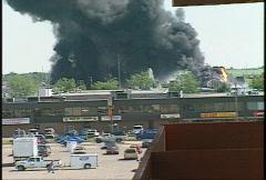Fire, hub oil fire, huge plumes of black smoke, #11 Stock Footage
