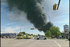 Fire, hub oil fire, huge plumes of black smoke, #3 Stock Footage