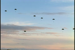 Military, parachuting soldiers, #3 high angle wide Stock Footage