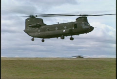 military, CH47 chinook helicopter landing  - stock footage