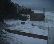 Coastal erosion in wild storm seas Stock Footage