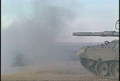Military, Leopard tank firing, #7, 3/4 profile long lens Stock Footage
