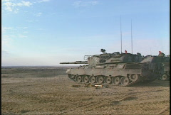 Military, leopard firing profile Stock Footage